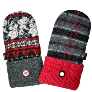 Upcycled Wool Women's Sweater Mittens with Buckskin Palms