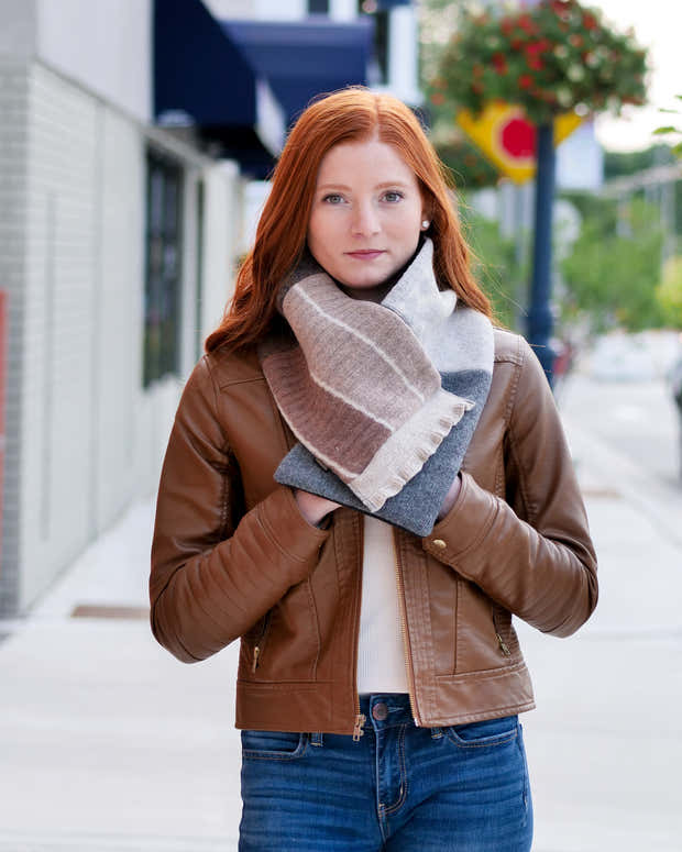 Upcycled Wool Women's Winter Cowl Scarf 1