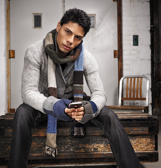 Upcycled Wool Men's Skinny Scarf for Winter 1