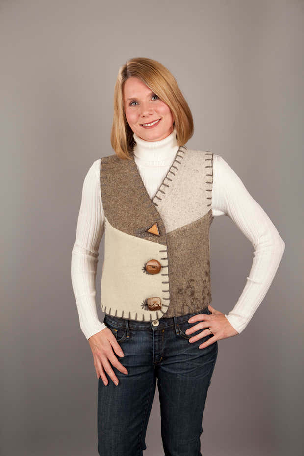 Upcycled Wool Women's Vest 1