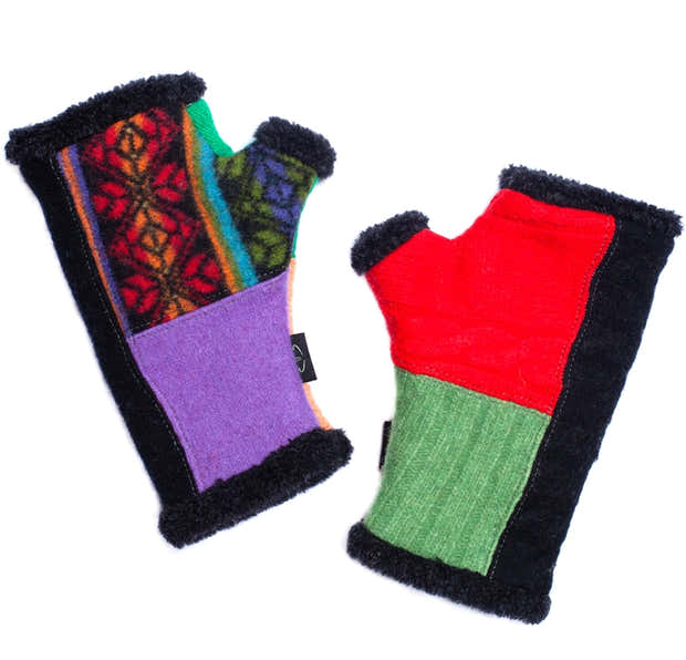 Upcycled Wool Arctic Fingerless Gloves 1