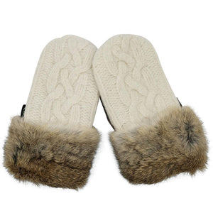 Upcycled Wool Women's Sweater Mittens with Fur Trimmed Cuffs