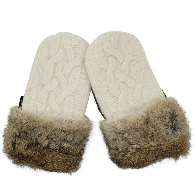 Upcycled Wool Women's Sweater Mittens with Fur Trimmed Cuffs 1