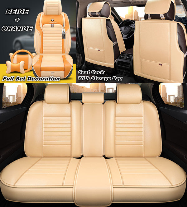 Orange Leather Car Seat Covers Set Front Rear Universal Fit All 5 Seats Car