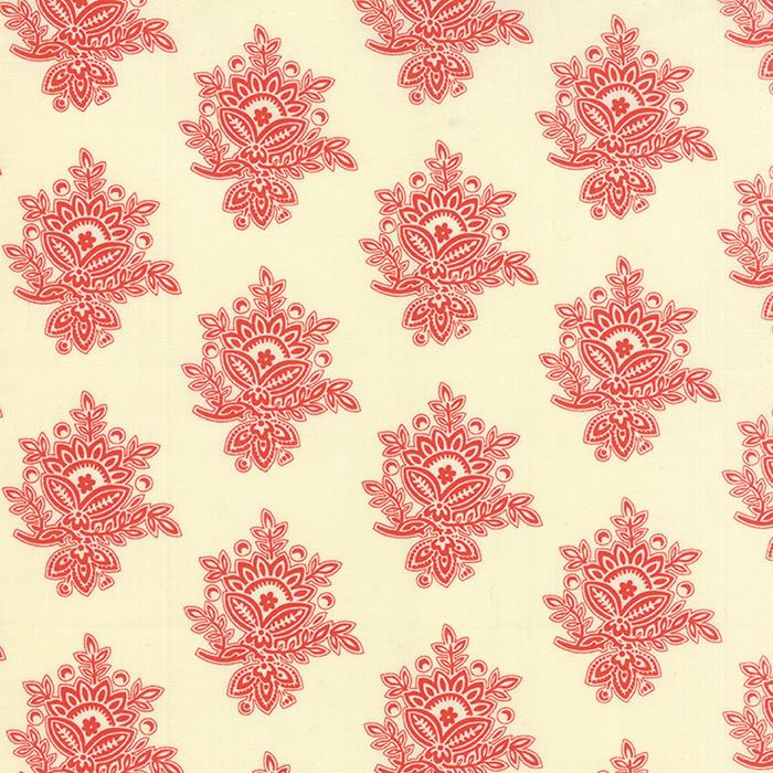 Somerset Mosaic Damask Cream Poppy