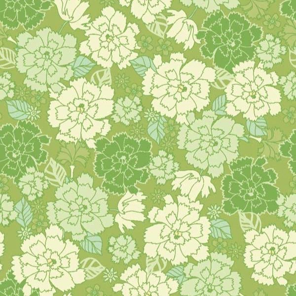 In the Beginning Garden Delights Carnation Green Fabric 4GSE-3