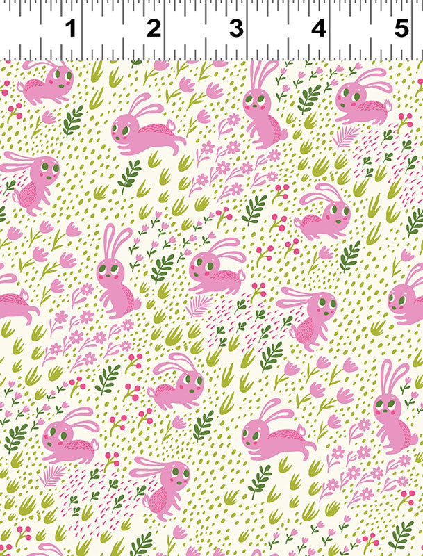 Frolicking Bunnies Pink