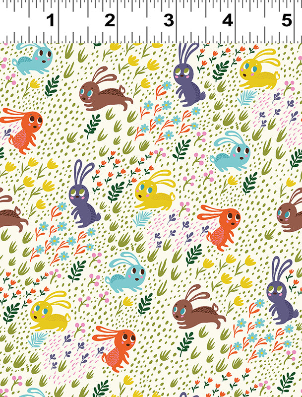 Frolicking Bunnies Forest Babes Fabric Clothworks