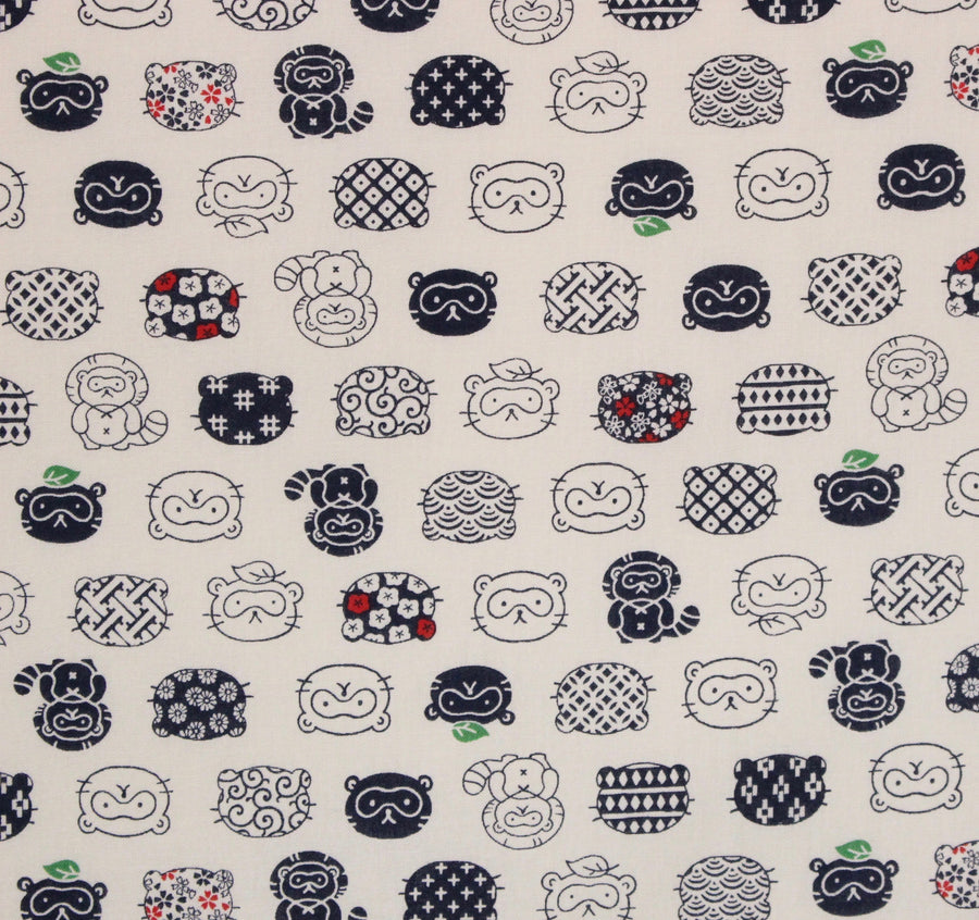 Indochine Cats Navy Japanese Import Fabric