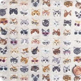 Cats in Shades Natural Linen Blend