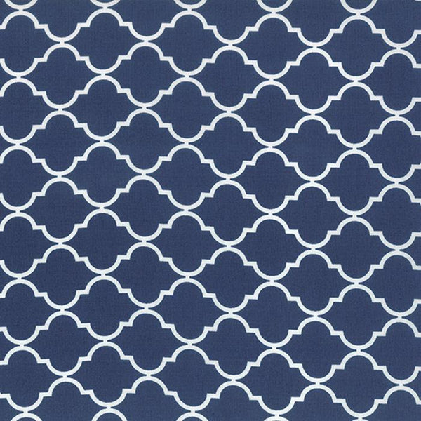 Geometric Quatrefoil Nautical Blue