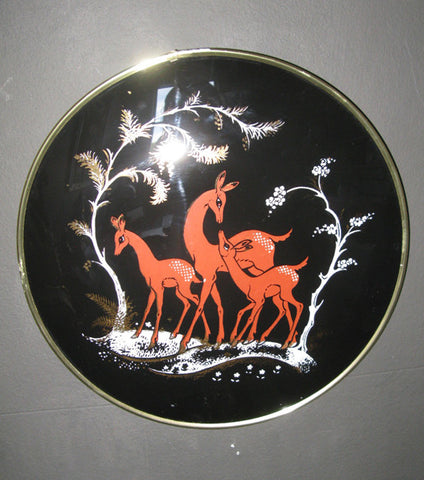 Deer wall-hanging in convex glass frame.