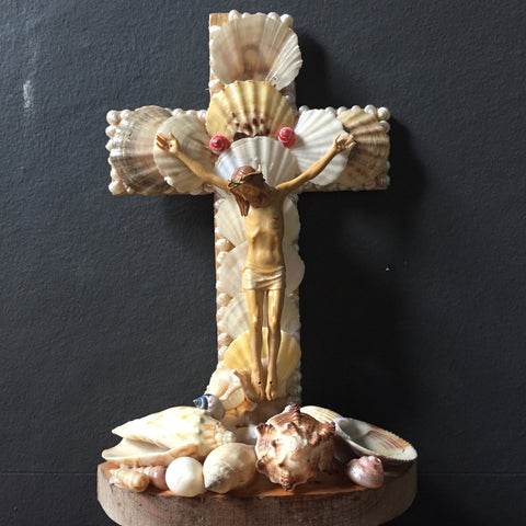 Crucifix decorated with shells