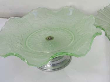 Glass cake stand on stand.