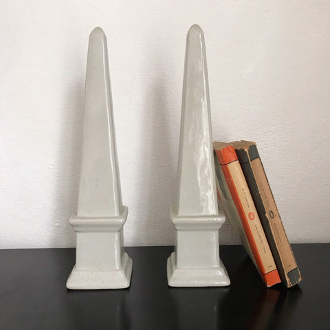 Pair of ceramic obelisks