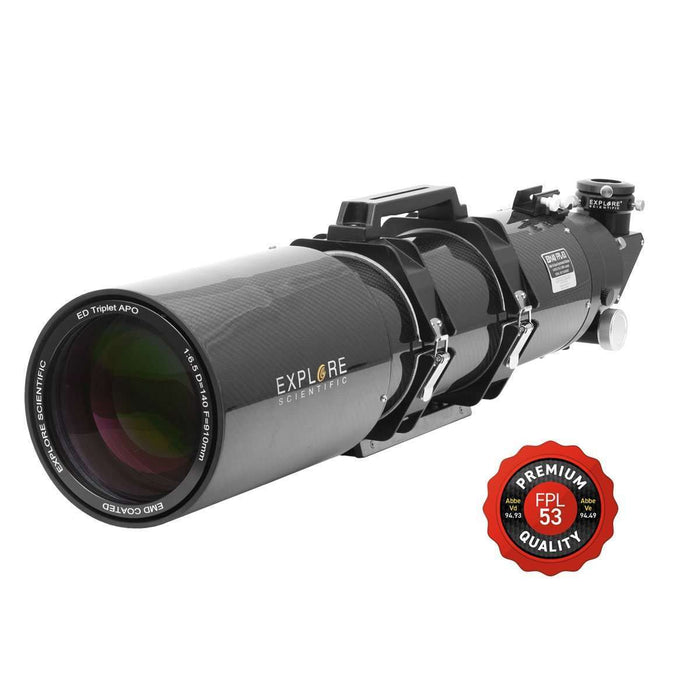 "AstralScopes:EXPLORE SCIENTIFIC ED140 FPL53 140MM F/6.5 AIR-SPACED TRIPLET ED APO REFRACTOR IN CARBON FIBER WITH 3"" HEX FOCUSER"