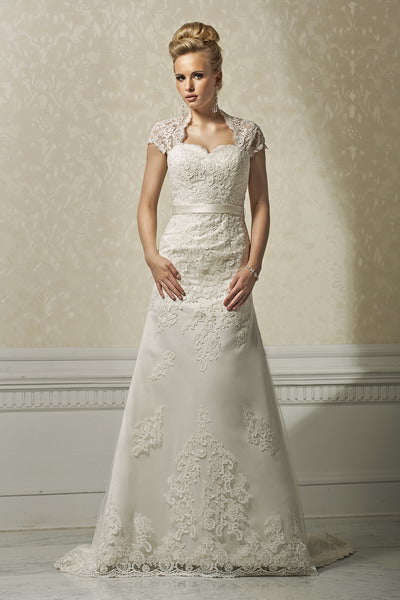 Annais Bridal fit and flare illusion back lace overlay