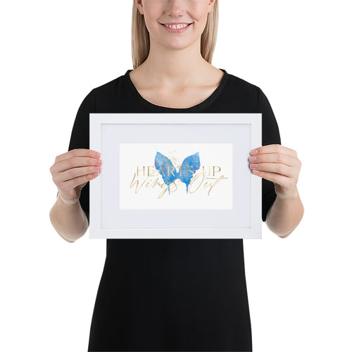 Matte Paper Framed Poster With Mat - Blue Butterfly