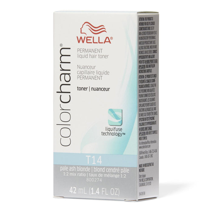 Wella Color Charm Permanent Liquid Hair Toner, T14 Pale Ash Blonde, 1.4 Oz.