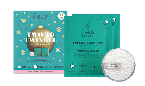 Seoulista Beauty Two to Twinkle Cleanse and Hydrate Christmas Gift Set with Magic Cleanse and Super Hydration Instant Facials - Seoulista Beauty