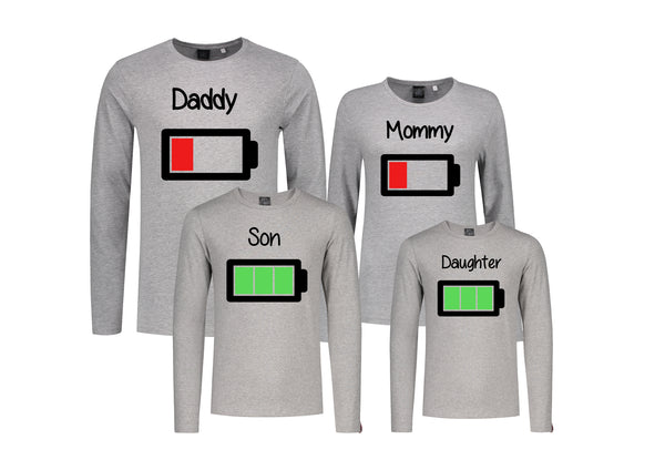 Set (3) Longsleeves Batterij Mommy Daddy Son/Daughter