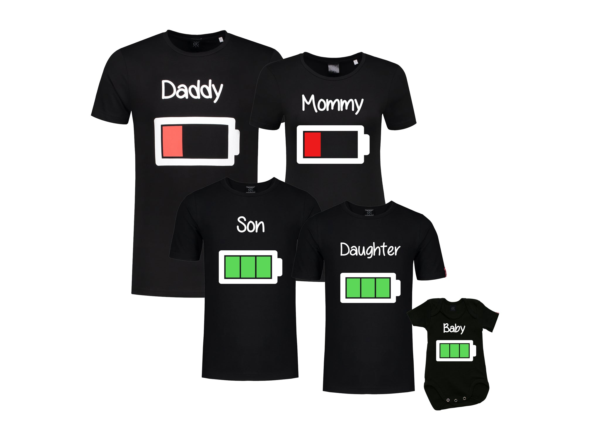 Set (3) T-Shirts Batterij Mommy Daddy Son/Daughter