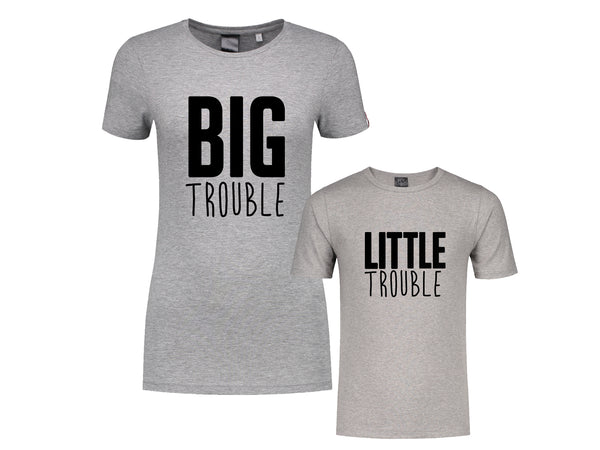 Set (2) T-Shirts Trouble Vrouw-Kind