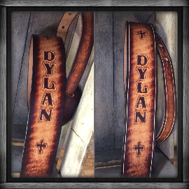 "Leather Guitar Strap ""Dylan Strap"" - M & W Leather"