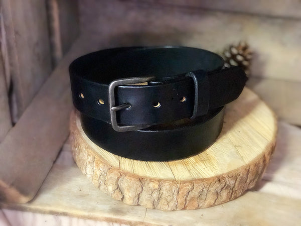 "English Bridle Leather Belt ""Black"" - M & W Leather"
