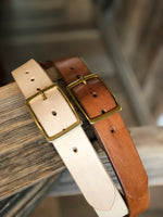 "Leather Belt-Standard Natural vegetable-tanned leather belt, 1 1/2"" width - M & W Leather"