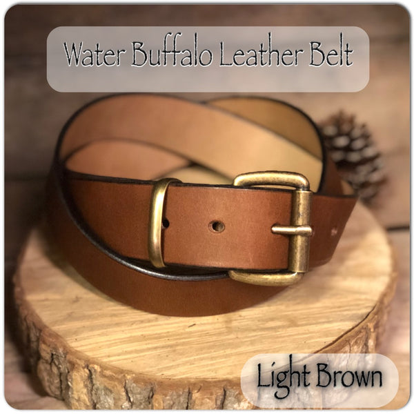"Water Buffalo Leather Belt in ""Light Brown"" - M & W Leather"