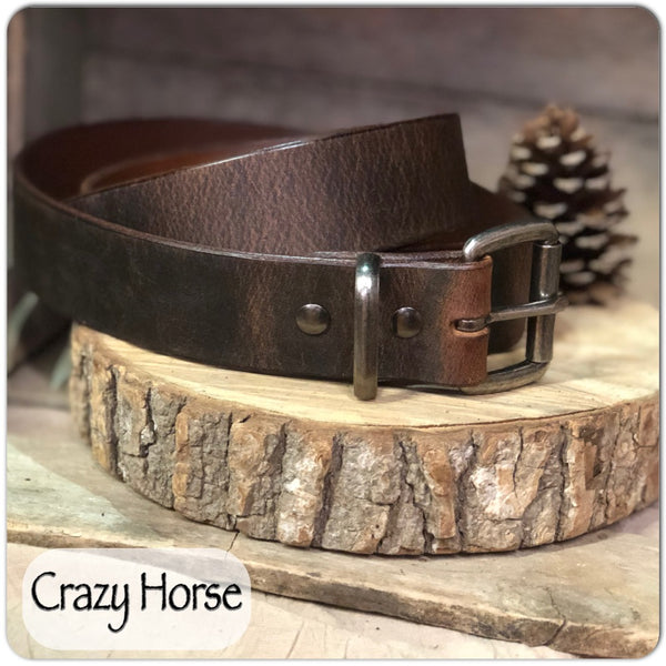 "Water Buffalo Leather Belt in ""Crazy Horse"" - M & W Leather"