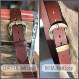 Handmade Leather Belt-Rich Brown -Harrison Buckle Collection - M & W Leather