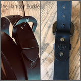 Handmade Leather Belt-Black-Harrison Buckle Collection - M & W Leather