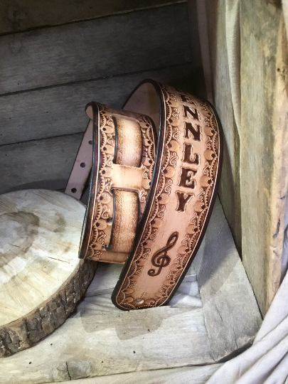 Tooled Leather Guitar Strap-The Brennley in Natural - M & W Leather