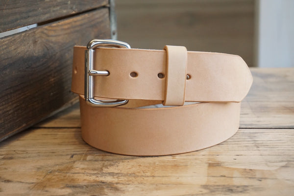 "Leather Belt-Wide Natural vegetable-tanned leather belt, 1 3/4"" width, - M & W Leather"