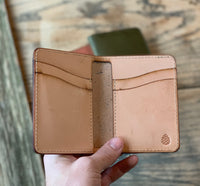 Vertical Leather Card Wallet in Navy - M & W Leather