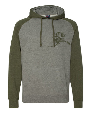 kavik river camp green and grey hoodie