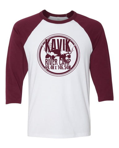 red and white raglan featuring the kavik river camp logo