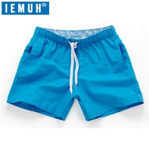 IEMUH Brand Summer New Casual Shorts Men Fit Solid 18 Color Available Shorts Loose Elastic Waist Breathable Beach Shorts HI-Q