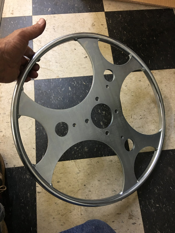 "19"" roll out wheel ring welded and zink plated."