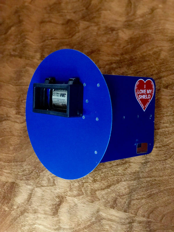 Wendy's Pancake Welding Hood Helmet w/strap Right Handed Blue w/ Flip Up Lens