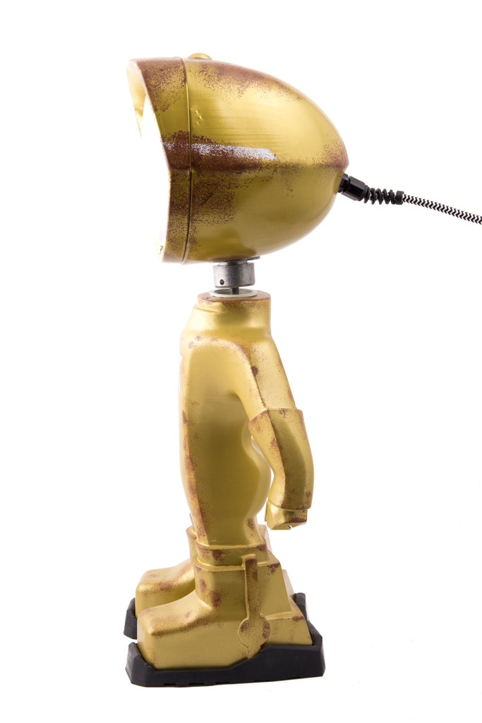 Cool robot lamp Lampster Army Gold