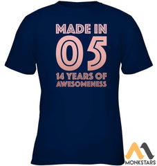 14Th Birthday Shirt Teen Girl Age 14 Year Old Gift Daughter Kids Classic Tee Navy