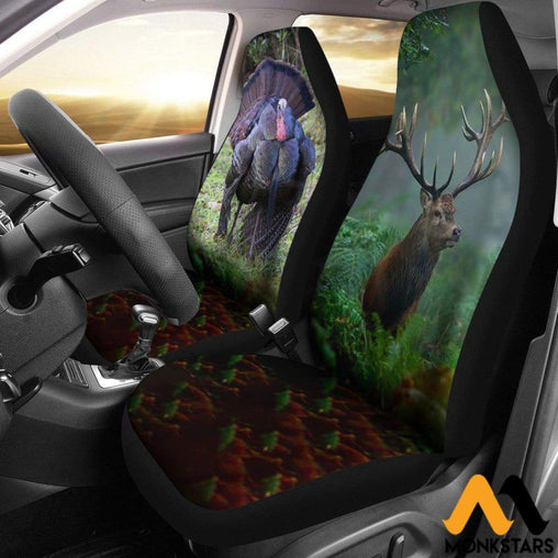 2Pcs Awesome Turkey And Deer Car Seat Cover Covers