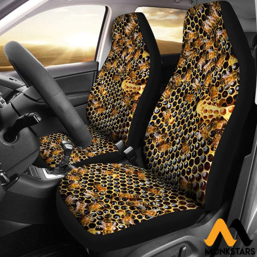 2Pcs Bees Car Seat Cover Covers