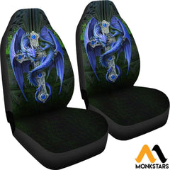 2Pcs Blue Dragon Seat Cover
