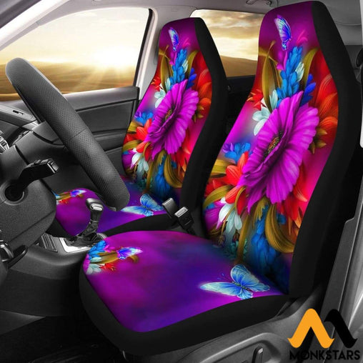 2Pcs Butterflies And Flowers Car Seat Cover Covers