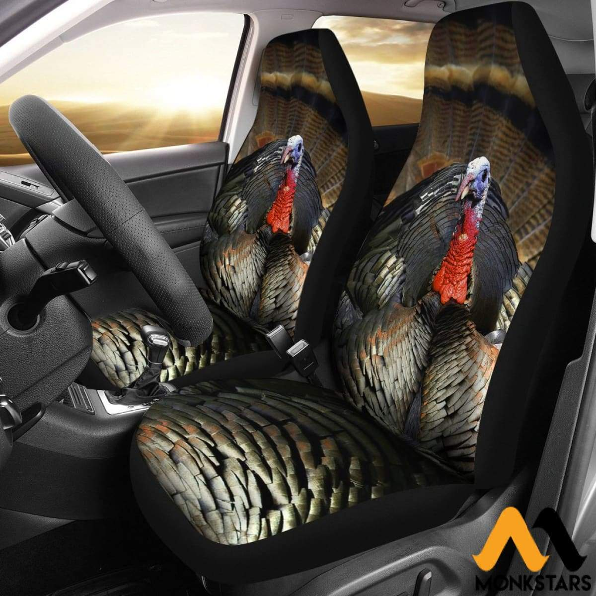 2pcs Turkey Car Seat Covers Monkstars Inc