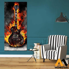 3-Piece Burning Guitar Printed Canvas Wall Art Sm240412 Painting & Calligraphy